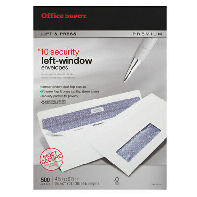 Office Depot Lift And Press #10 Window Security Envelopes, White, 500-Pack