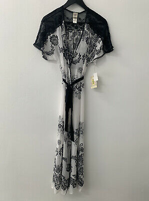BNWT In Bloom By Jonquil Long Robe floral Ivory & Black Size Small