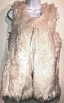 Xhiliration Womens Small Cream Faux Fur Fully Lined Vest Jacket Winter Cozy