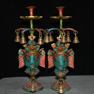 "16"" Old Tibet Bronze Fane Turquoise Elephant Head Belle candler candlestick Pair"