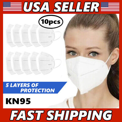 KN95 Face Mask 10 Piece Protective Respirator Covers Mouth & Nose FAST Shipping