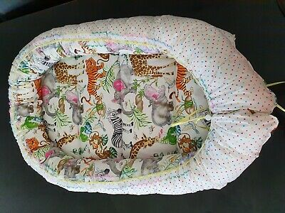 Baby Pod Nest Reversible Bed Sleep Cushion Safari Animals