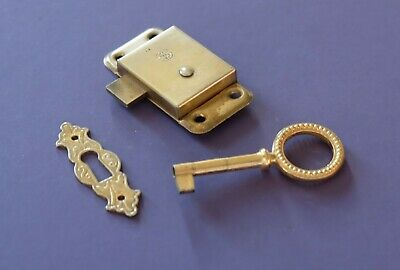 Straight Cabinet / Cupboard / Wardrobe door lock c/w key and escutcheon 2 1/2""