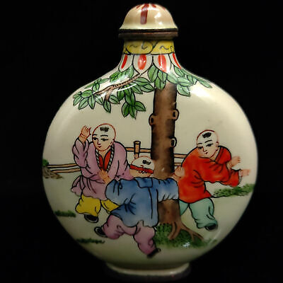 Chinese Antique Cloisonne Children playing Pattern snuff bottle Qian Long W Mark