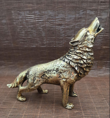 China old Collectible Decorated Handwork Bronze Sculpture Wolf statue