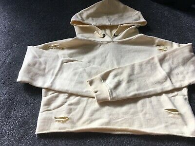 Used lightly girls cropped hoodie New Look, age 11, lemon with slits