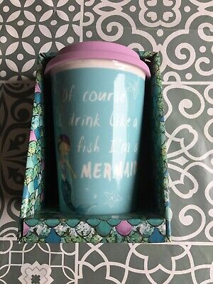 I'm A Mermaid Double Wall Ceramic Thermal Travel Mug with Silicone Lid NEW