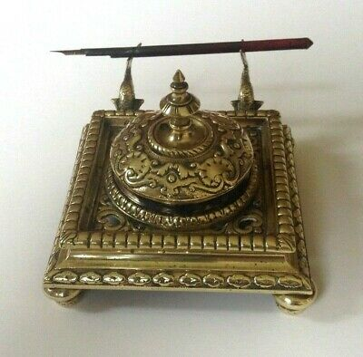 Antique Brass Inkwell with Dolphin Pen Rest marked W S Late 19th Cent