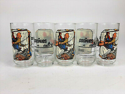 Set of 5 The Goonies 1985 Sloth Comes to the Rescue Glasses Drinking Glass Lot