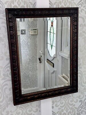 Antique Wood Mirror Very Old Detailed Carved Frame