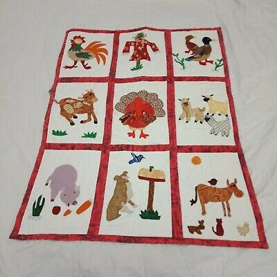 Quilt Handmade Country Lap Quilt Wall Hanging Scarecrow Farm Animals