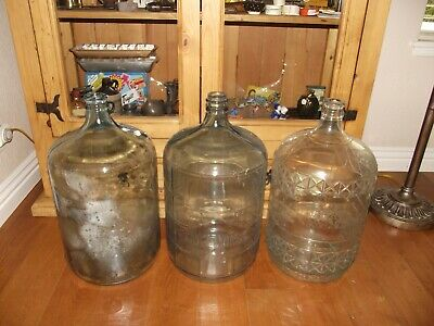 3 vintage 5 Gallon Glass Water Bottles Sparkletts Arrowhead and Knoxage