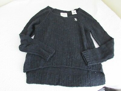 Abercrombie & Fitch Kids Girls Large L Navy Blue V-Neck Sweater White Moose BNWT