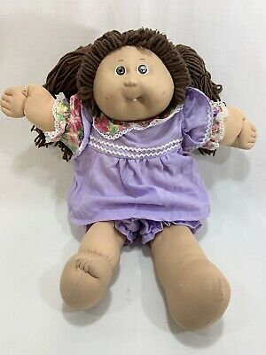 Vtg 1985 Coleco Cabbage Patch Kids Girl Doll Brown Hair w/Dress Outfit Tooth