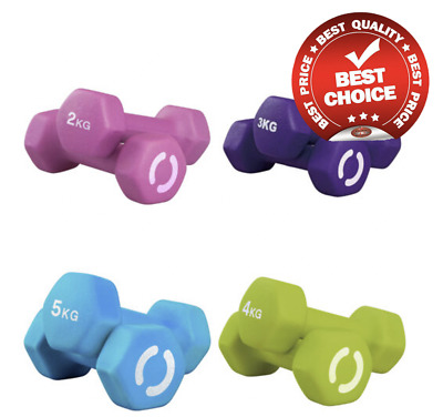 Dumbbells Neoprene Iron Hand Weights Home Gym Aerobic Exercise Ladies - 2kg -5kg