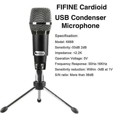 Fifine Plug & Play Home Studio Cardioid USB Condenser Microphone
