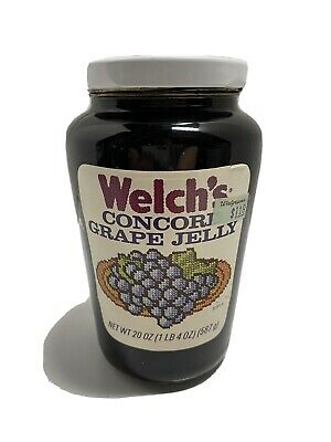 Vtg original Welch's Concord Grape Jelly Jar Glass w/ Lid