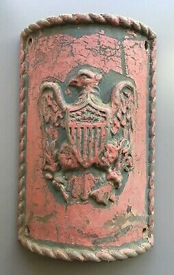 Vintage Antique Architectural Cast Iron Curved Plate w/ Great Seal Eagle Relief
