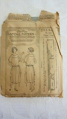 Antique 1921 Misses Dress Sewing Pattern The New McCall Pattern #2715- Size 16
