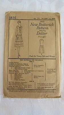 Antique 1920's New Butterick Pattern Including Deltor # 1835 - Frock, Age 19 , .