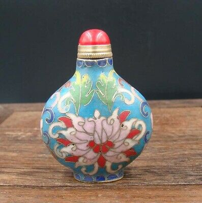 Collectible 100% Handmade Painting Copper Cloisonne Enamel Snuff Bottles