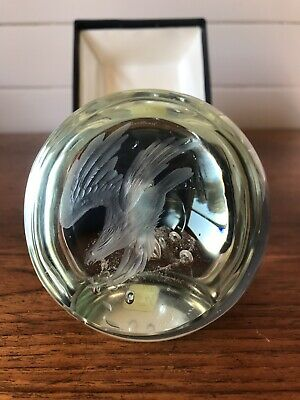 """Vintage Art Glass Caithness """"Osprey"""" Paperweight Made In Scotland Boxed"""
