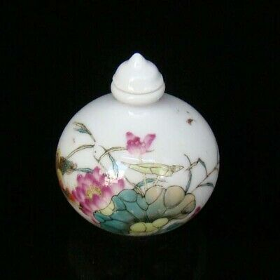 Collectible 100% Handmade Painting Porcelain Snuff Bottles Lotus flower 15