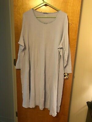 Lands End Nightgown 100% Cotton Supima Lavender Long Sleeve Midcalf