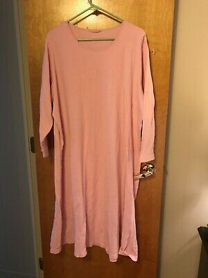 Lands End Nightgown 100% Cotton Supima Pink Long Sleeve Midcalf
