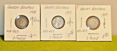 (3) Great Britain Silver 3 Pence 1917,17,18 km-813