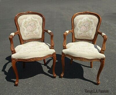 Pair French Provincial Country Louis XVI Off White Floral Tapestry Chairs