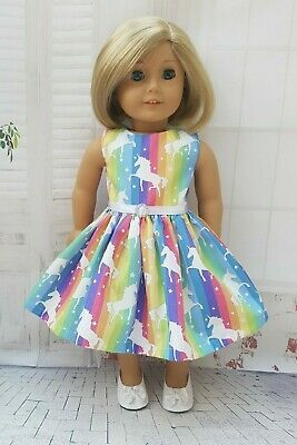 Rainbow Unicorn Dress fits Our Generation fits American Girl Doll Diamante Trim