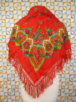 Vintage Womens Scarf Shawl Red Floral Paisley Wool Tassel Folk Boho Hippy Retro