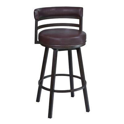 """Madrid 26"""" Barstool in Auburn Bay finish with Brown Pu upholstery"""