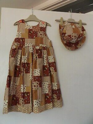 Beautiful reversible hand made summer dress and hat outfit / set aged 4 years