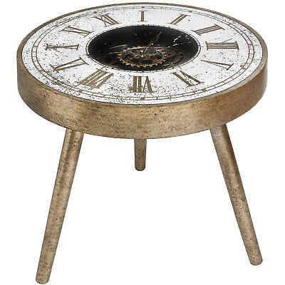 Mirrored Round Framed Clock Table with Moving Mechanism Side Coffee Living Room