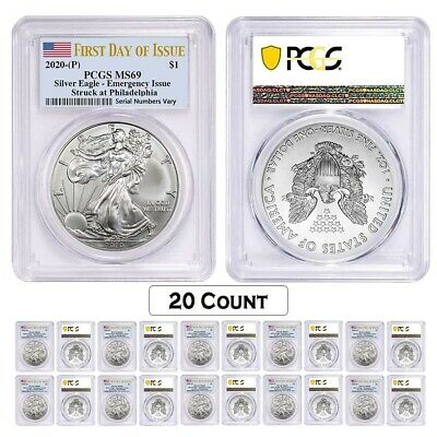 Lot of 20 - 2020 (P) 1 oz Silver American Eagle PCGS MS 69 FDOI Emergency Issue