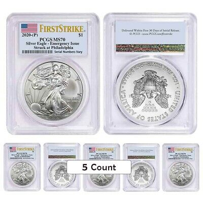 Lot of 5 - 2020 (P) 1 oz Silver American Eagle PCGS MS 70 FS Emergency Issue