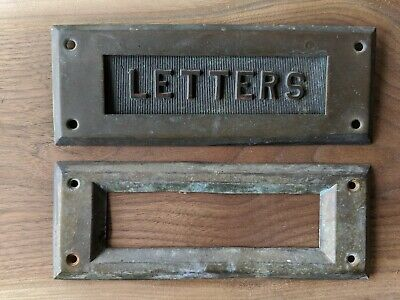Antique brass mail slot - Nice condition and patina