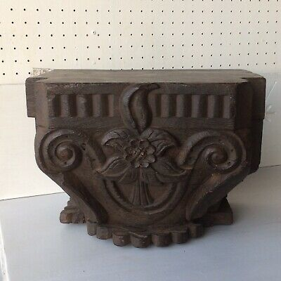 Antique Carved Wood Column Capital or Base Architectural Salvage 19th Century
