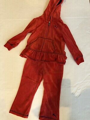 Girls Size 24 Month Puma Red Orange Tracksuit Jumpsuit Outfit Ruffle Velour