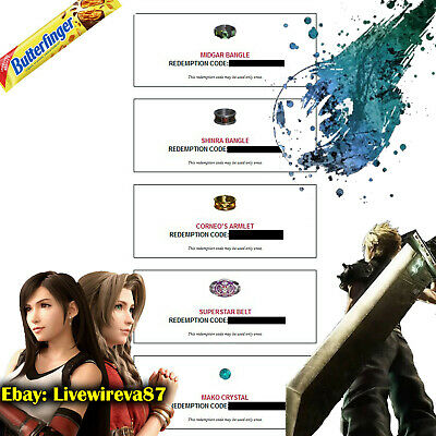 Final Fantasy 7 VII Remake 5 DLC Items Set Butterfinger Promo (OFFICIAL CODES)
