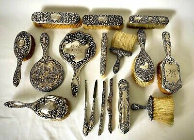 17 Piece Lot Sterling Silver Antique and Vintage Vanity and Grooming Articles