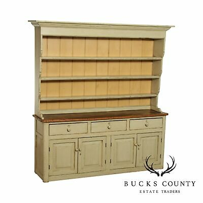 Antique English Farmhouse Pine Painted Dresser, Sideboard, Hutch