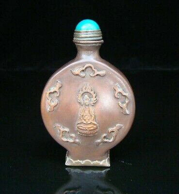 Collectible Handmade Carving Statue Copper Brass Snuff Bottles NO-02