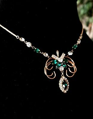 Antique Vintage 10K Gold Filled Green Clear Rhinestone Art Deco Necklace