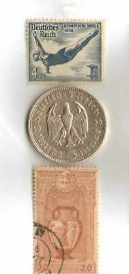 *Greece-1896+1936-*German Olympic  stamps +-*German Olympic  SILVER EAGLE coin+
