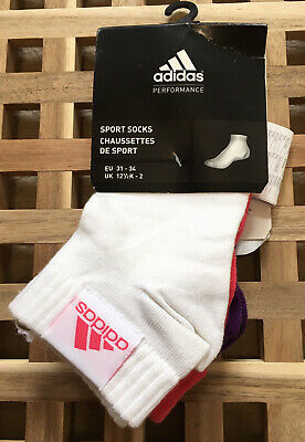 Adidas Ankle Liner Sock 3 Pack 12.5-2 White Pink Purple New