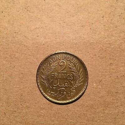 Tunisia 2 Francs  1945  Km # 248  Vf.