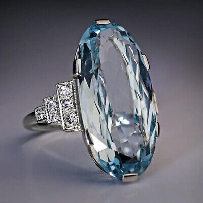 Elegant 925 Silver Wedding Rings Women Oval Cut Aquamarine Rings Size 6-10